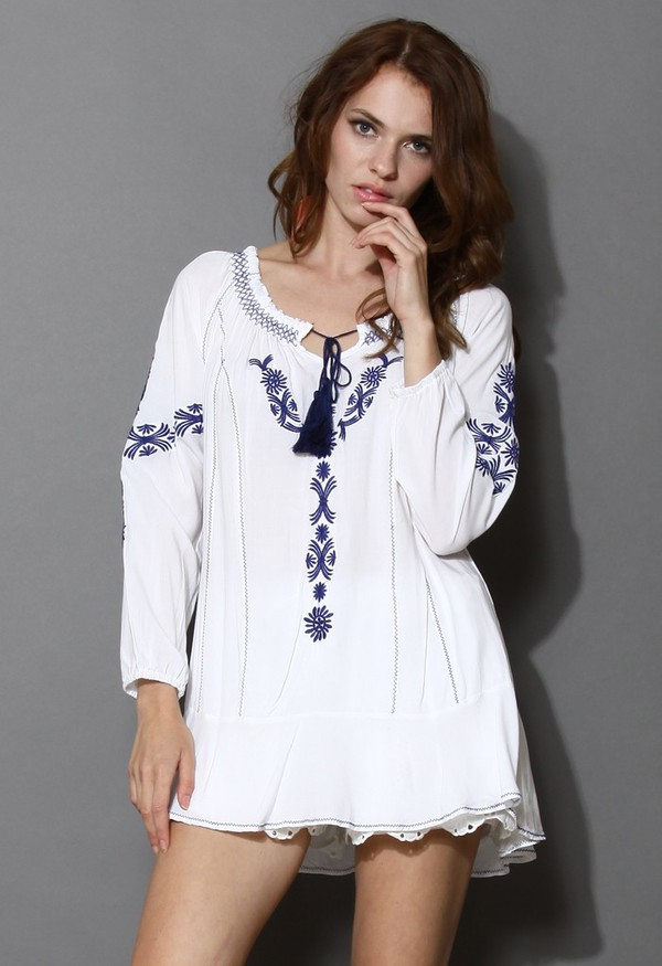top chicwish daisy blue embroidered boho