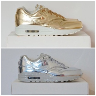 shoes nike nike running shoes nike air nike air max air max liquid gold air max 1 liquid gold liquid silver gold silver white