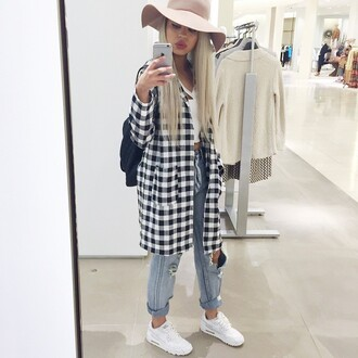 shoes white nike floppy hat flannel cardigan