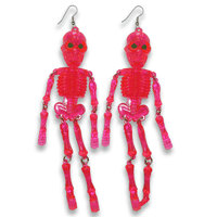 Neon Mr. Bones Jangles Skeleton Earrings Pink by SHOPHULLABALOO