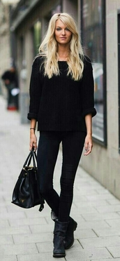 shoes,jumper,black boots,black,sweater,fashion,fall sweater,fall outfits,winter sweater,knitwear,boots,jeans,black jeans,style,streetstyle,top,bag,simple boots,flat,black sweater