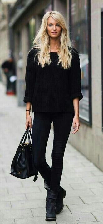 shoes jumper black boots black sweater fashion fall sweater fall outfits winter sweater knitwear boots jeans black jeans style streetstyle top bag simple boots flat black sweater