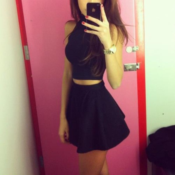 dress black dress skirt nails cute dress blouse black all black everything black skirt watch two-piece crop tops flared skater skirt top skirts and tops dress set black dress
