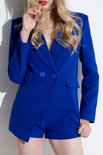 jacket blazer elegant chic fashion style fall outfits office outfits romper blue sexy stylish trendy padded shoulders pockets