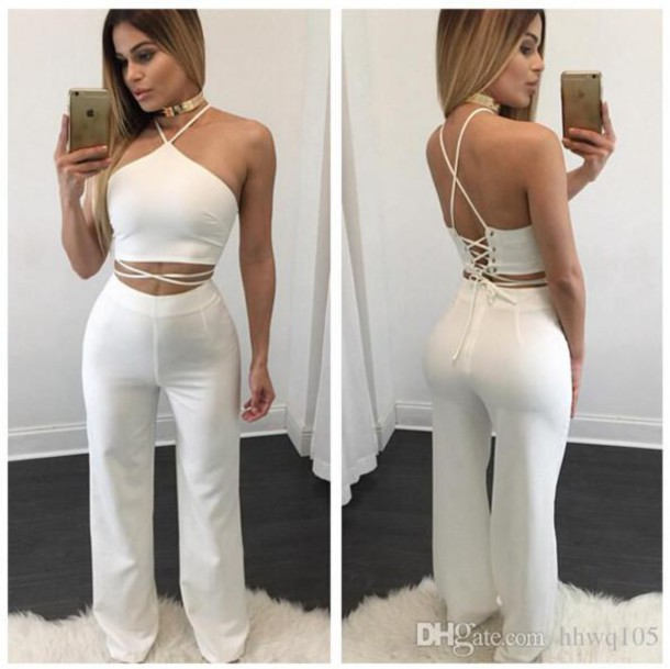 jumpsuit white jumpsuit sexy white outfit all white everything jewels