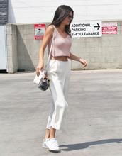 top,kendall jenner,crop tops,crop,fashion,pink,pink top,american apparel,pants