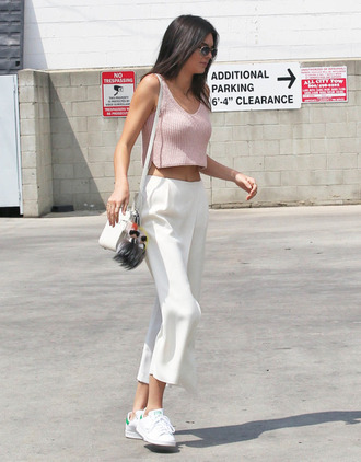 top kendall jenner crop tops crop fashion pink pink top kendall and kylie jenner american apparel pants