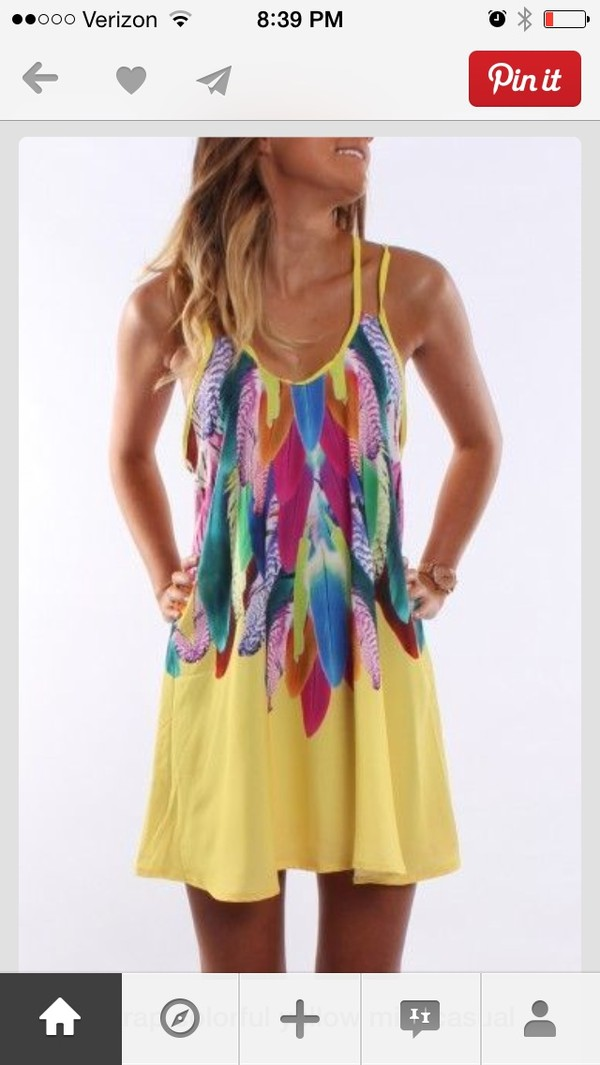 dress summer yellow boho colored feathers yellow dress sundress blue green pink red flowy summer nights short short dress feathers dress with feathers strapless dress multicolor dress