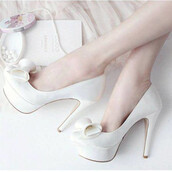 shoes,elegant,heels,white,date outfit,bow,love,lovely,cute,pretty,kawaii,girly,amazing,cool,stilettos,high heels,bow shoes,charming,elegant shoes