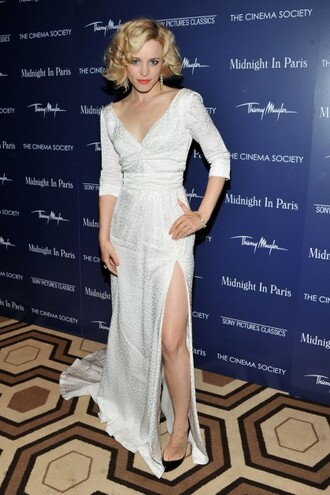 rachel mc adams stars celebrity white dress dress