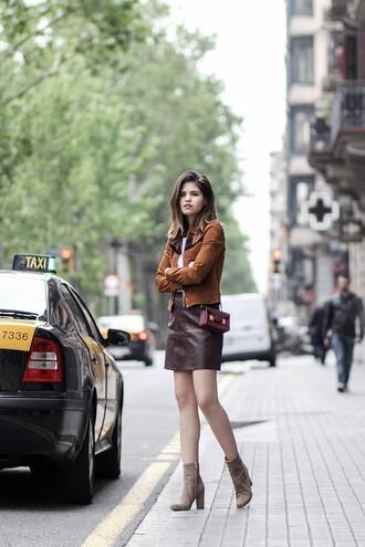 fake leather blogger jacket t-shirt skirt bag shoes