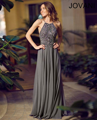 dress prom dress charcoal grey beaded dress beaded halter dress gown chiffon