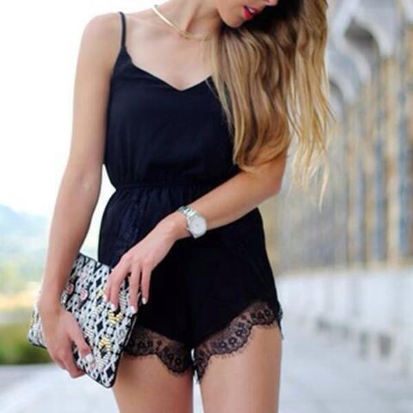 Black Lace Trim Romper