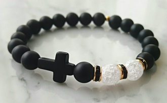 jewels bracelets black white cross cute