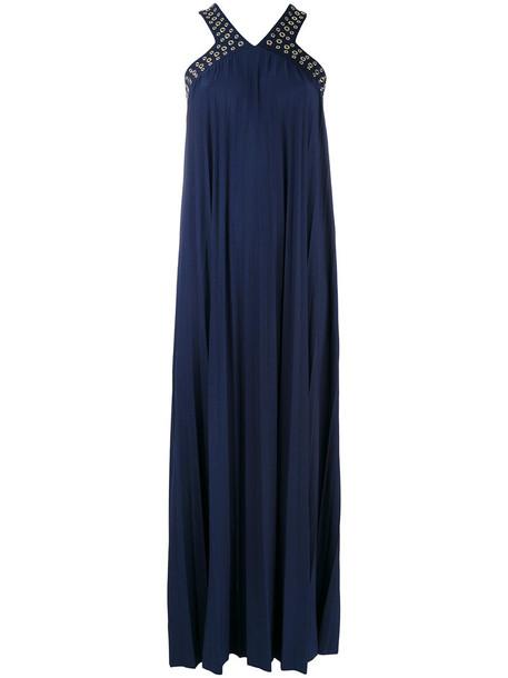 dress eyelet dress pleated women spandex blue