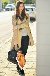 perla oreneta,blogger,t-shirt,jeans,bag,trench coat,camel