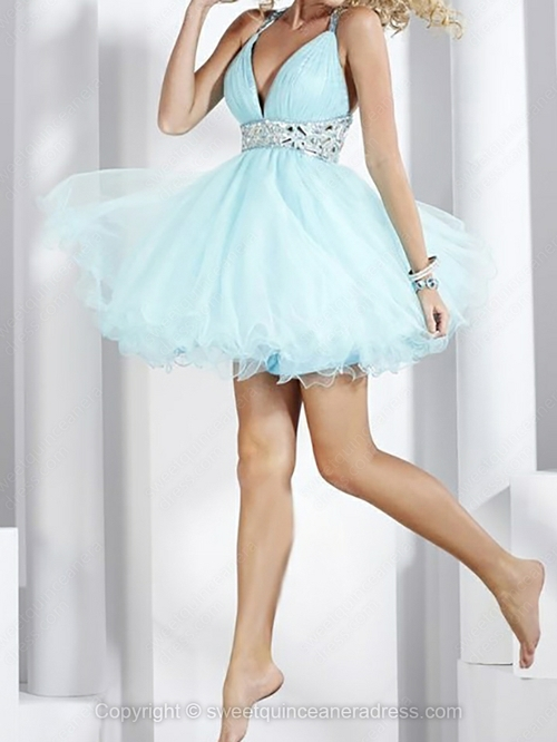Line organza short/mini ruched sweet sixteen dresses with various styles