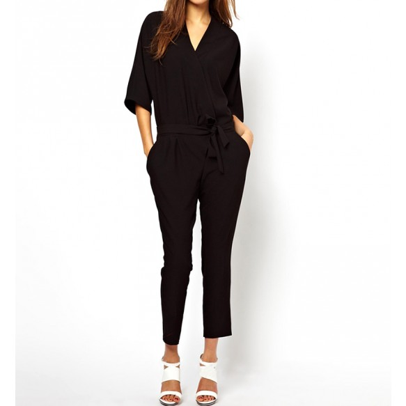Kimono Sleeved Wrap Front Peg Jumpsuit at Style Moi
