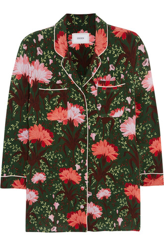 blouse floral print silk satin pink green top