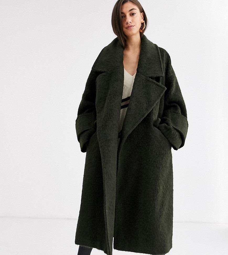 ASOS DESIGN Tall hero coat with cuff detail in khaki