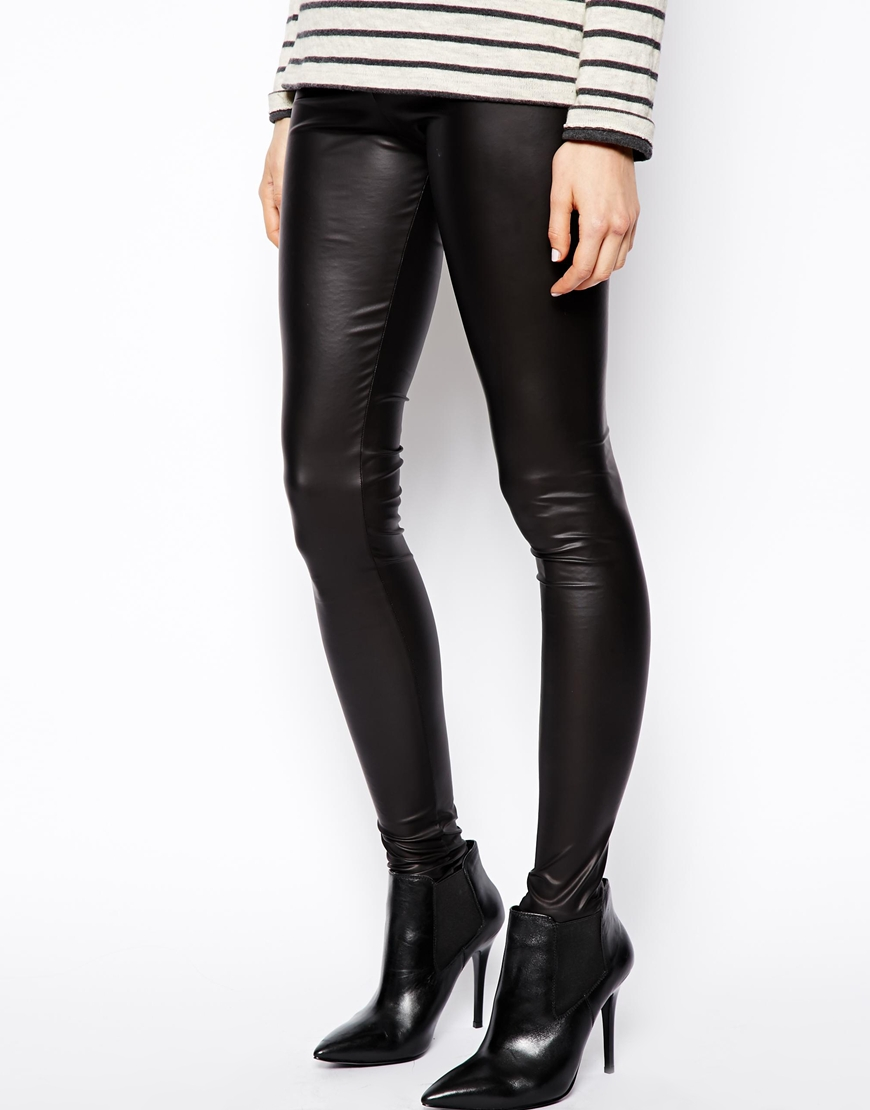 ASOS Coated Leather Look Leggings at asos.com