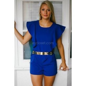 romper e's closet dress royal blue playsuit royal wedding royal blue romper royal blue jumper royal blue jumpsuit