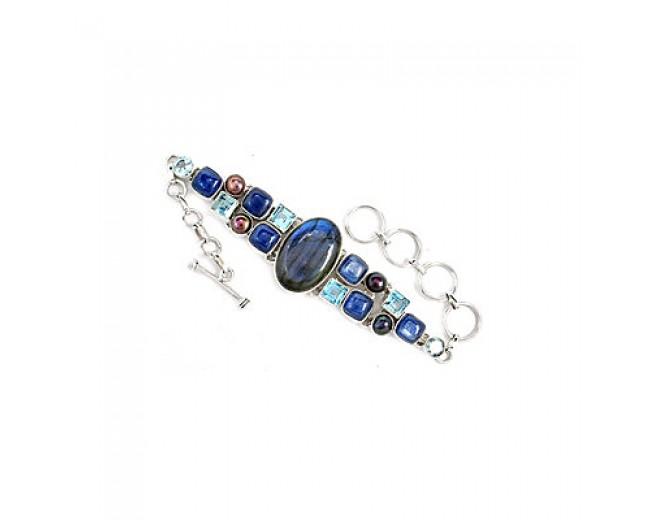 Amazing 925 sterling silver Labradorite Kyanite And Blue Topaz Gemstone Cluster Bracelet