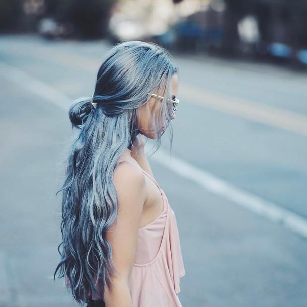 Hair Accessory Tumblr Hair Long Hair Blue Hair Hair Clip