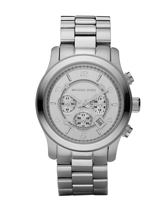 Michael Kors Silver Oversized Runway Watch - Michael Kors