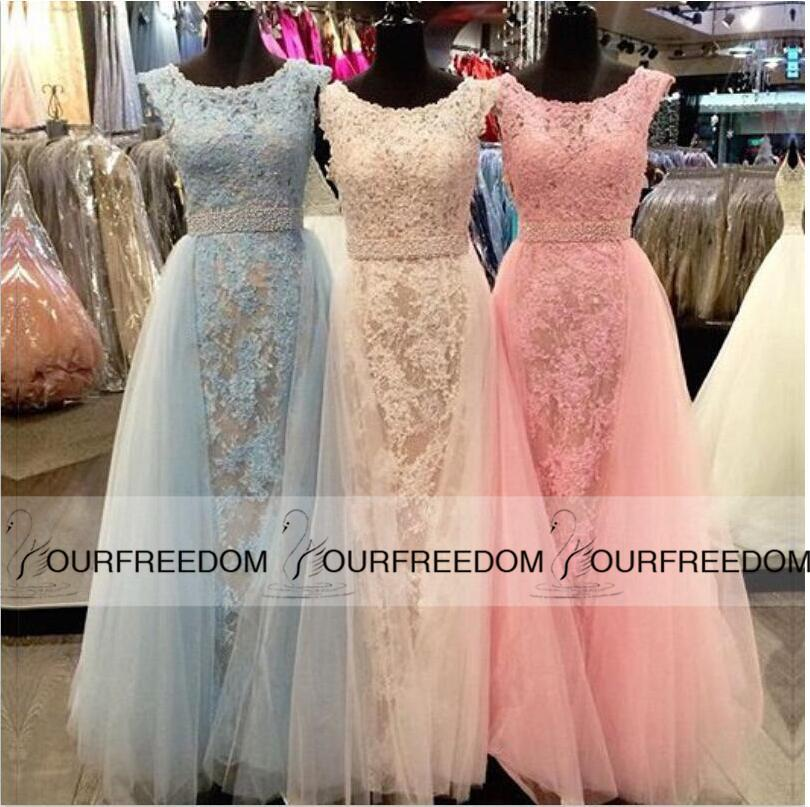 2016 New Prom Dresses With Over Skirts Bateau Neck Capped Sleeves ...