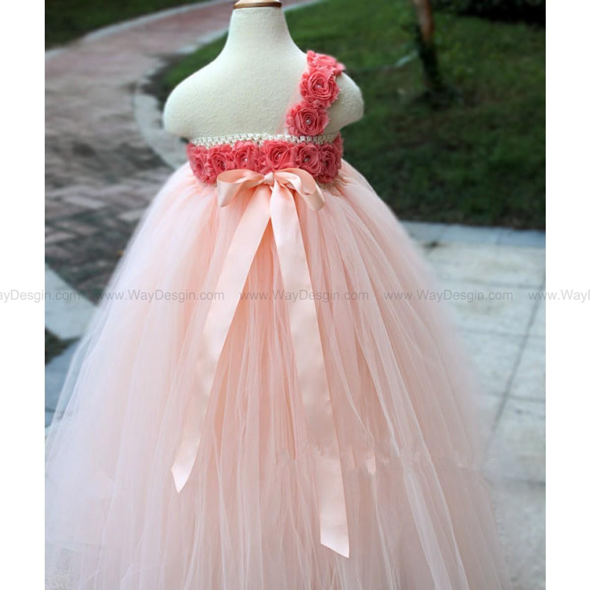 Flower Girl Dress peach coral tutu dress baby dress toddler birthday dress wedding dress