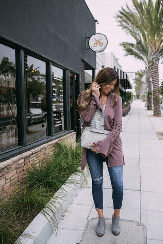 mint arrow blogger shoes bag cardigan t-shirt jeans jewels skinny jeans booties fall outfits