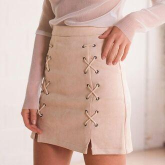 skirt suede skirt suede lace up skirt lace up trendy girly