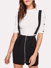 dress,girly,black dress,black,suspenders,skirt with suspenders,zip