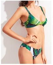 swimwear,girly,leaf print,green,bikini,bikini top,bikini bottoms,two-piece