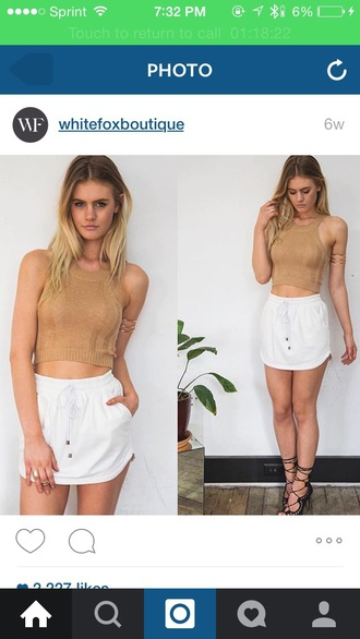 skirt white short skorts classy summer gold elastic waist