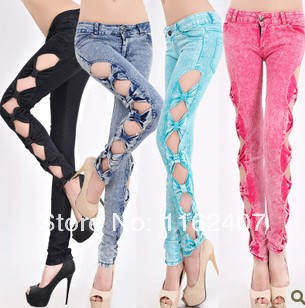 Trendy Fashion Casual Sexy Women's Side Bowknot Hollow Cutout Jeans Wash Denim Pants Slim Ladies Trousers Girls Jeggings-inJeans from Apparel & Accessories on Aliexpress.com