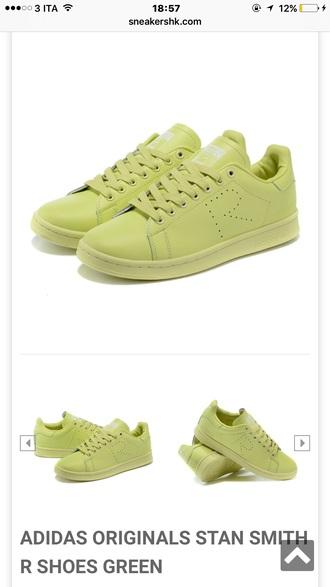 shoes stan smith raf simons green sneakers adidas
