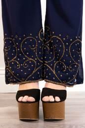 pants,festival,vintage,beading,embellished,boho,gypsy,bohemian,navy