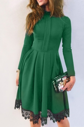 dress green fashion style long sleeves lacework splicing stand collar long sleeves dress casual classy trendy