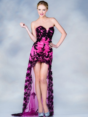 Buy Charming Black Lace Fuchsia Sheath/Column Sweetheart Neckline High Low Homecoming/Prom Dress under 300-SinoAnt.com