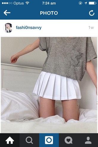 skirt white pleated short school style