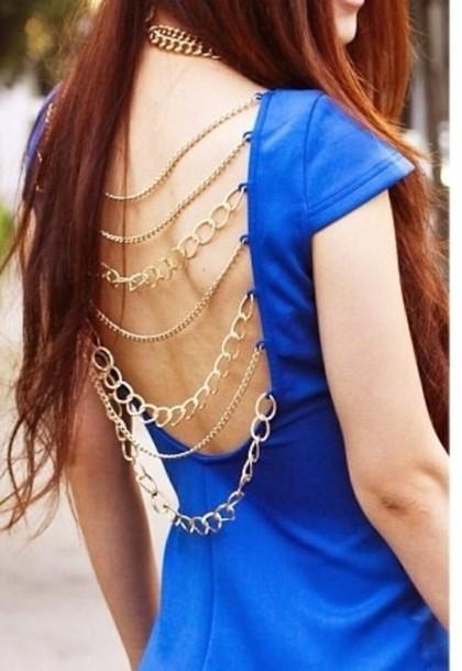 dress gold chain navy backless dress blouse