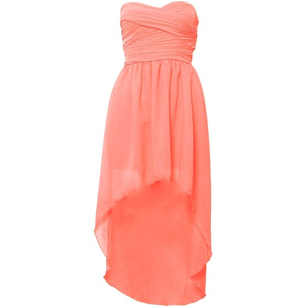 Mullet Hem Chiffon Bandeau Dress - Polyvore
