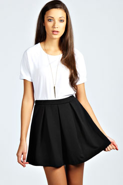 Aleena box pleat scuba skater skirt at boohoo.com