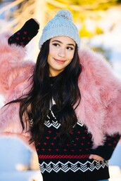 jacket,fur,faux fur,faux fur jacket,mylifeaseva,sweater,hat,beanie,winter outfits,baby pink