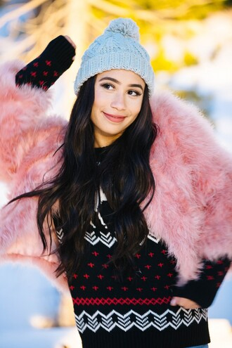 jacket fur faux fur faux fur jacket mylifeaseva sweater hat beanie winter outfits baby pink