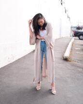 shoes,mules,high heel sandals,cardigan,long cardigan,skinny jeans,white top