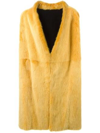 coat sleeveless coat sleeveless long fur women leather yellow orange