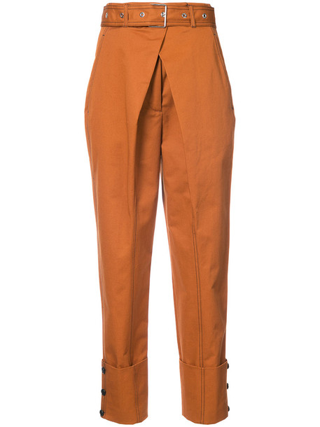 Proenza Schouler - Belted Straight Pant with Cuff - women - Cotton - 2, Brown, Cotton